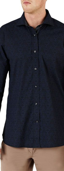 Ted Baker Endurance Chazen Jacquard Print Long Sleeve Shirt , Navy