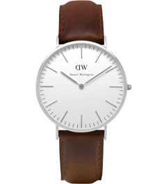 Daniel Wellington Men%27s Classic Stainless Steel Leather Strap Watch