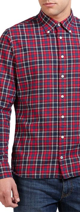 Tommy Hilfiger Felix Check Long Sleeve Shirt, Red