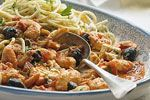Prawns with tomato, feta & black olives recipe