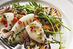 Grilled squid with rocket salad recipe