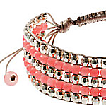 John Lewis Bead Five Row Friendship Bracelet, Coral