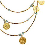 Azuni 24ct Gold Plate Long Coin Necklace