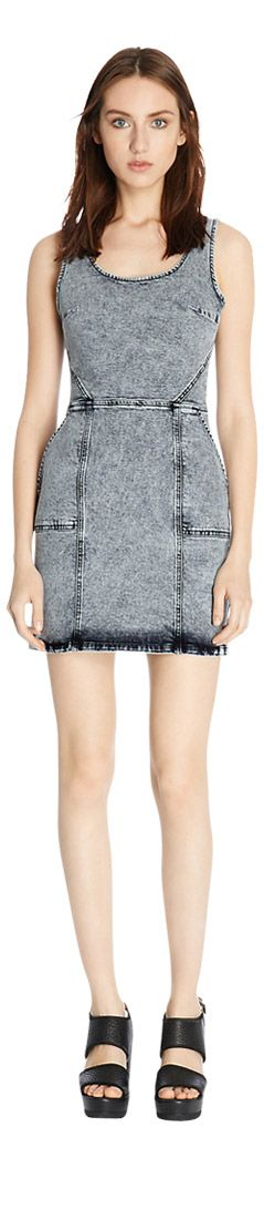 Warehouse Cut Out Back Bodycon Dress, Bleach Denim