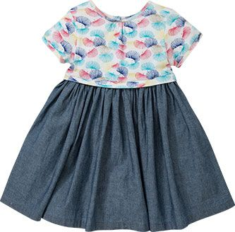 John Lewis Chambray Jersey Dress, Blue/Multi, £14 - £15