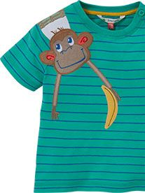 John Lewis Stripe Monkey Motif T-Shirt, Green, £9 - £10