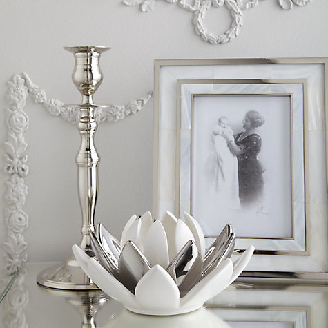 Buy John Lewis Lotus Flower 3-Tier Tealight Holder, Silver/ White Online at johnlewis.com