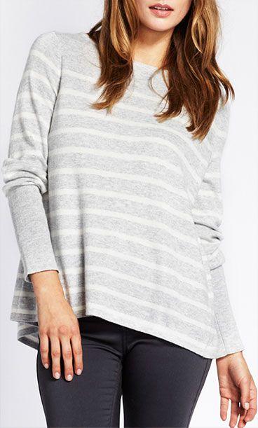 Mint Velvet Stripe Knitwear, Grey, £69
