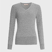 John Lewis Cable V-neck Sweater , Grey Marl, £49