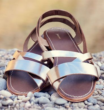 John Lewis Gooseberry Leather Sandals, Gold