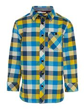 John Lewis Boy Block Check Oxford Shirt, Teal/Multi, £15 - £17