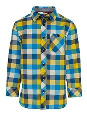 John Lewis Boy Block Check Oxford Shirt, Teal/Multi, £15.00 - £17.00