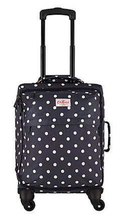 Cath Kidston Dot 4-Wheel Suitcase, Navy/White