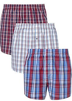 John Lewis Check woven boxer shorts, pack of 3