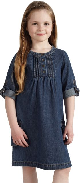 John Lewis Girl Denim Dress, Blue