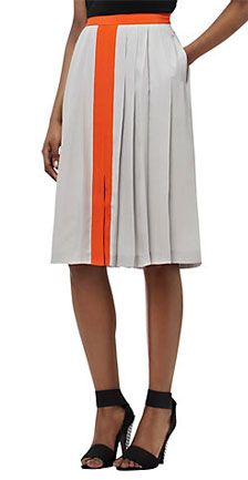 Reiss Pleated Contrast Skirt