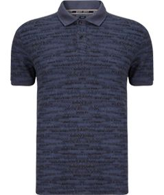 Armani Jeans All-Over Logo Polo Shirt, Navy