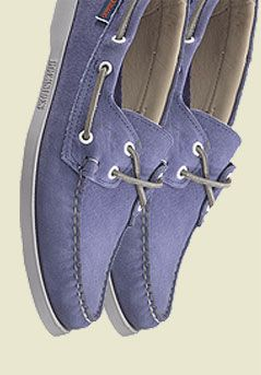 Sebago Dockside Leather Boat Shoes, Chalk Blue