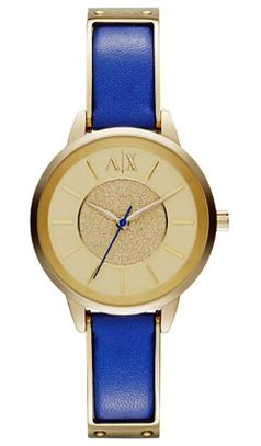 Armani Exchange Textured Gold Dial Watch