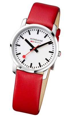 Mondaine Unisex Leather Strap Watch
