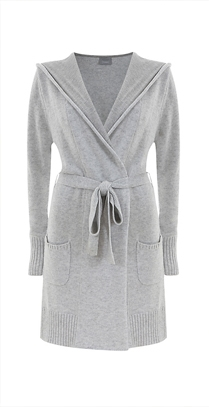 Hygge by Mint Velvet Hooded Wrap Cardigan, Grey