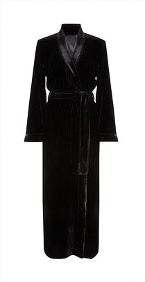 Somerset by Alice Temperley Luxury Silk Velvet Long Robe, Black