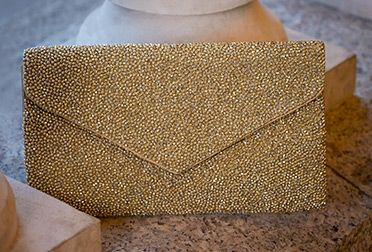 John Lewis Fabric Beaded Pouch, Gold