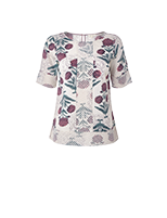 White Stuff Petal Print Top, Canvas White/Multi