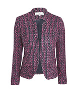 Helene For Denim Wardrobe Notch Collar Jacket, Pink/Navy