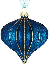 John Lewis Ribbed Onion Glitter Bauble, Blue