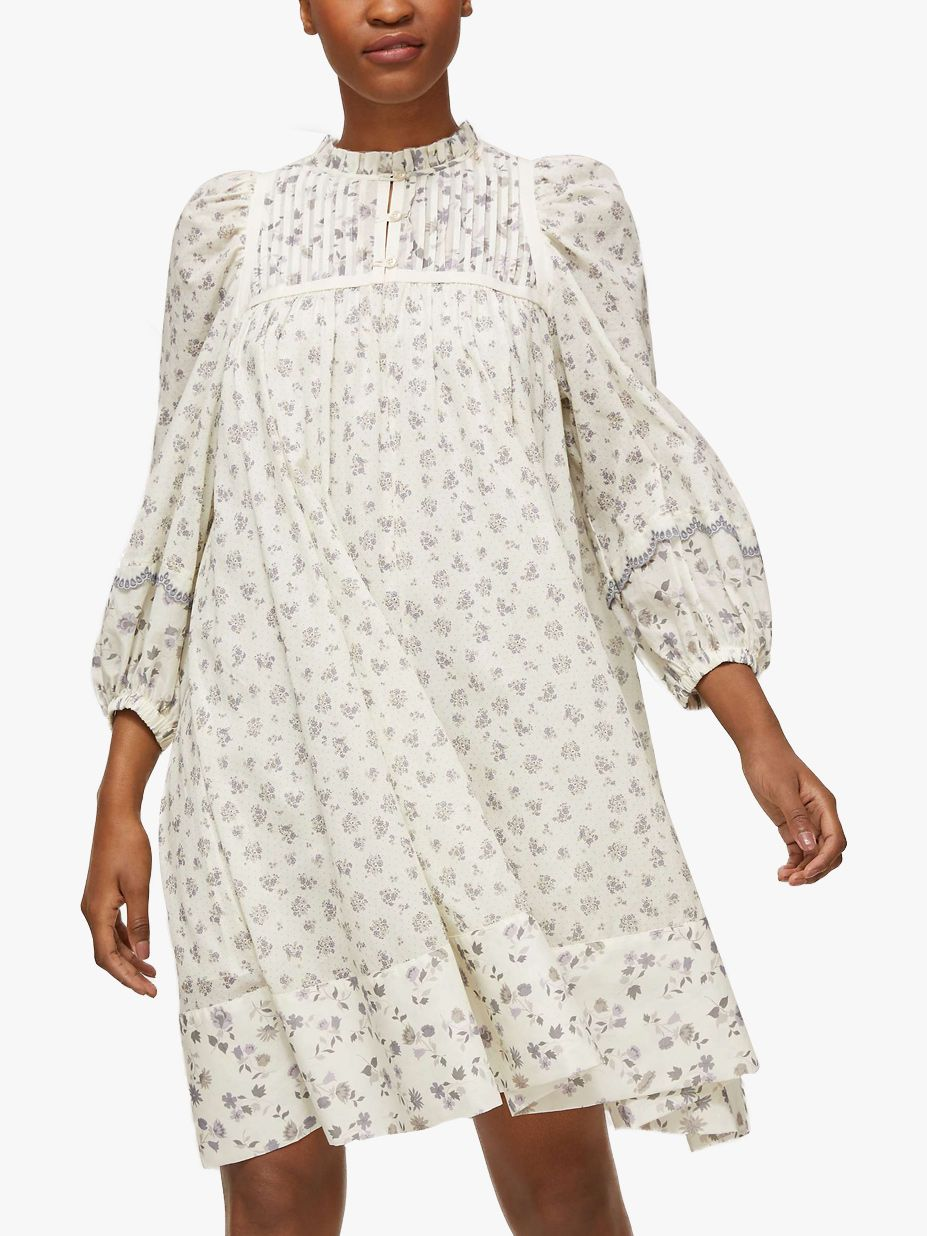 See By Chloé Voile Floral Print Dress, White/Grey