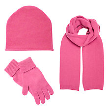 Buy John Lewis Cashmere Scarf, Beanie Hat and Gloves Set, Pink Online at johnlewis.com