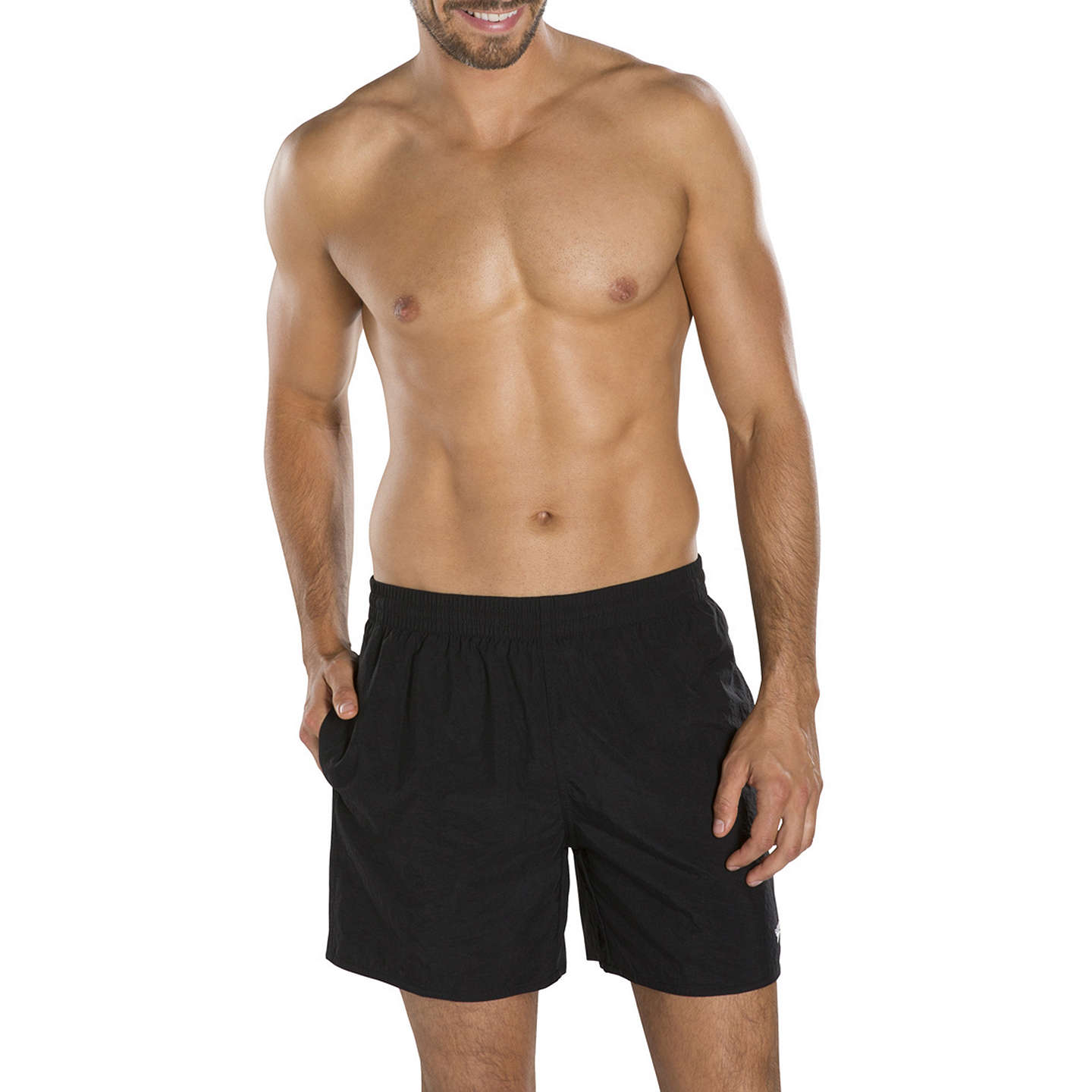 BuySpeedo Solid Watershort Swim Shorts, Black, M Online at johnlewis.com ...
