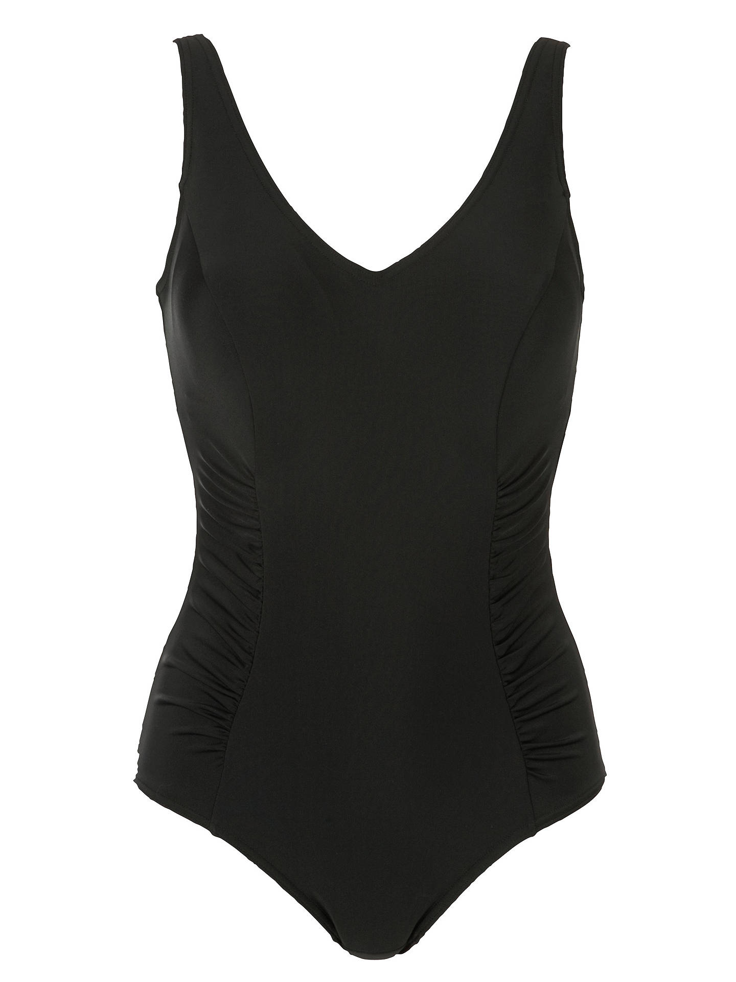 BuyJohn Lewis & Partners Control Side Ruched Swimsuit, Black, 10 Online at johnlewis.com