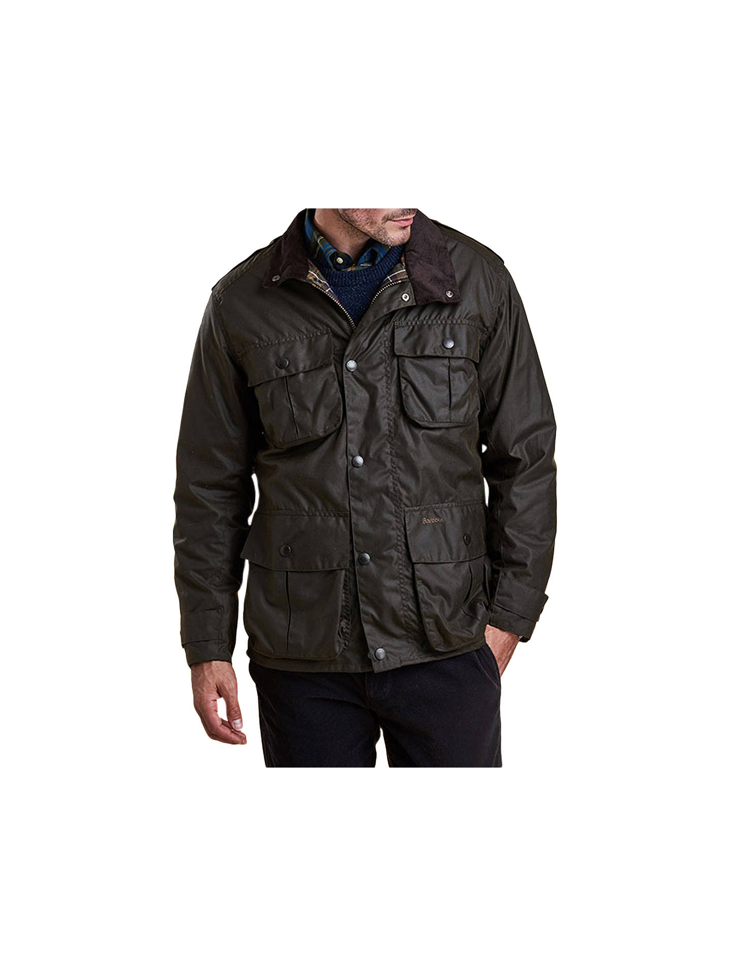 df4ca6c9a45e7 Buy Barbour Trooper Wax Jacket, Olive, S Online at johnlewis.com ...