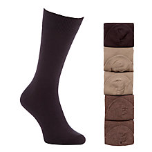 Buy John Lewis Cotton Rich Socks, Pack of 5, Brown Online at johnlewis.com
