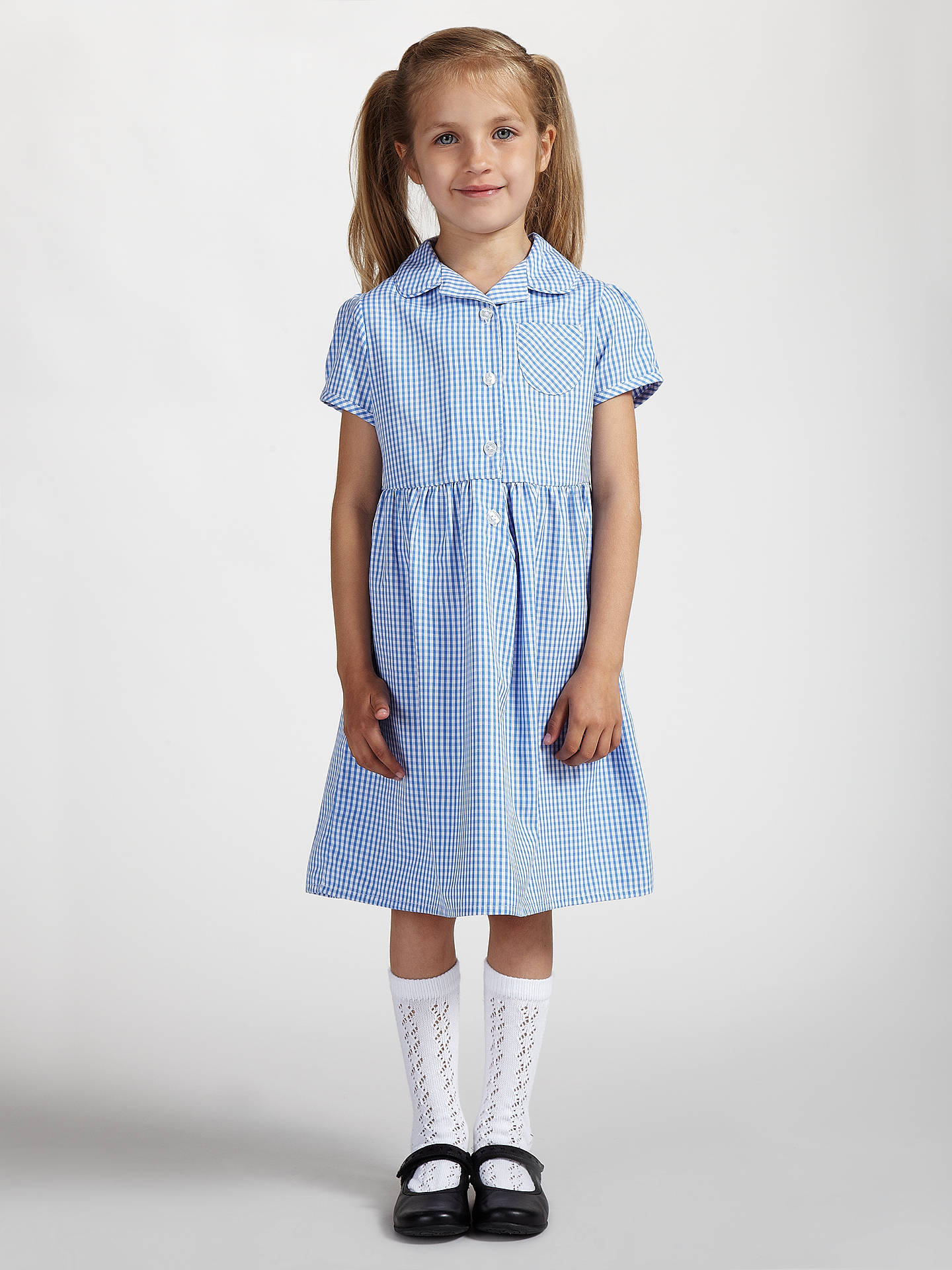 Buy John Lewis & Partners School Belted Gingham Checked Summer Dress, Blue, 4 Years Online at johnlewis.com