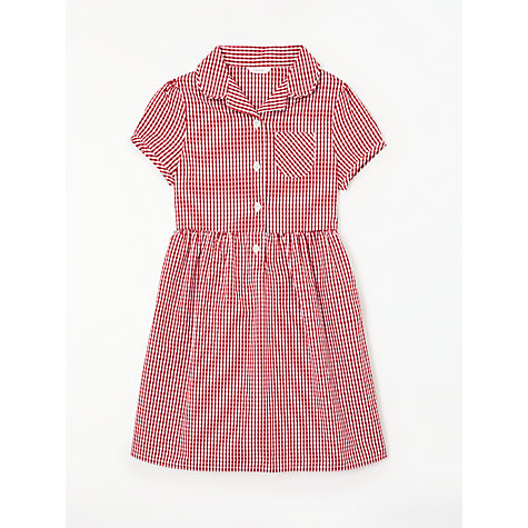 Buy John Lewis School Belted Gingham Checked Summer Dress, Red Online at johnlewis.com
