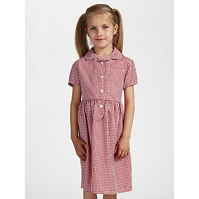 Product photo of John lewis school belted gingham checked summer dress red