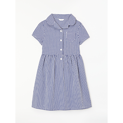 Product photo of John lewis school belted gingham checked summer dress navy
