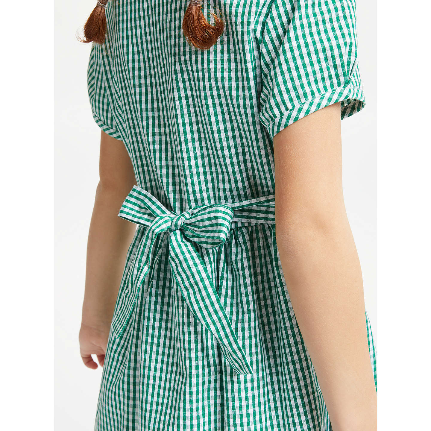 BuyJohn Lewis School Belted Gingham Checked Summer Dress, Green, 4 Years Online at johnlewis.com