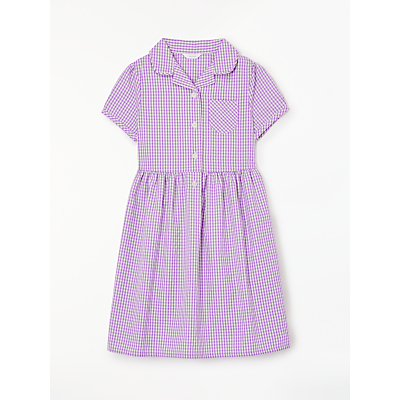 Product photo of John lewis school belted gingham checked summer dress lilac