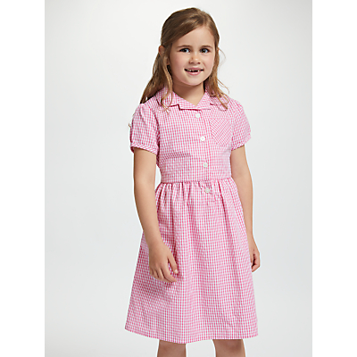 Product photo of John lewis school belted gingham checked summer dress pink