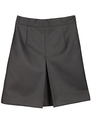 Girls' Wool Mix Inverted Pleat School Skirt, Black