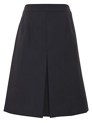 Girls' Wool Mix Inverted Pleat School Skirt, Navy