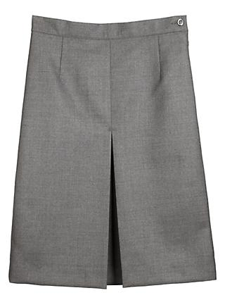 Girls' Wool Mix Inverted Pleat School Skirt, Grey