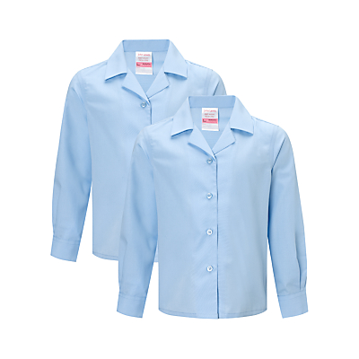 Product photo of John lewis girls noniron long sleeve open neck school blouse pack of 2 blue
