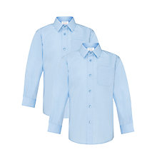 Buy John Lewis Boys' Long Sleeve Non-Iron School Shirt, Pack of 2, Blue Online at johnlewis.com