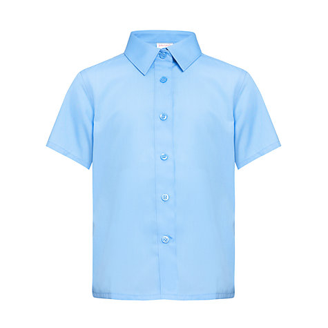 Buy John Lewis Girls' Short Sleeved Non-Iron Button to Neck School Blouse, Pack of 2, Blue Online at johnlewis.com