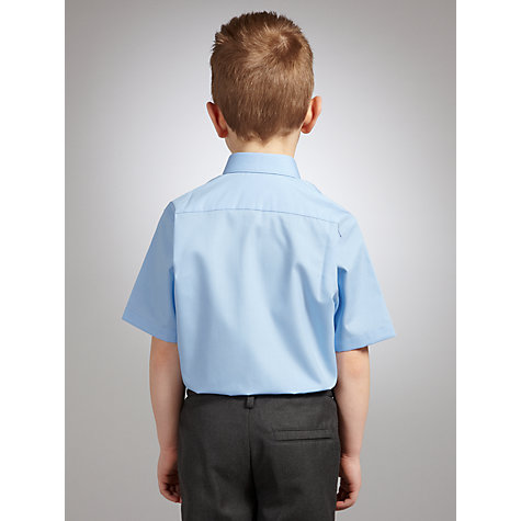 Buy John Lewis Boys' Short Sleeve Non-Iron School Shirt, Pack of 2, Blue Online at johnlewis.com